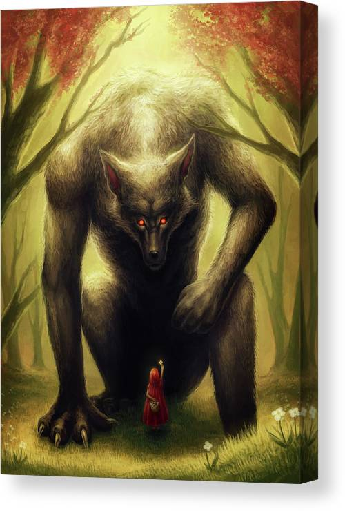 Little Red Riding Hood Canvas Print featuring the mixed media Little Red Riding Hood by Jojoesart