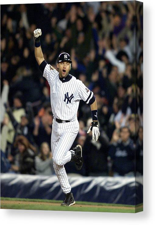 People Canvas Print featuring the photograph New York Yankees Derek Jeter Celebrates by New York Daily News Archive