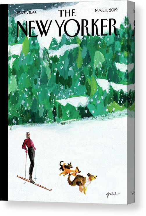Skiing Canvas Print featuring the painting Off The Path by Gayle Kabaker
