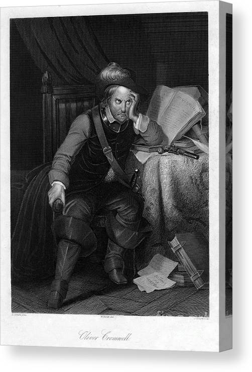 Oliver Cromwell Canvas Print featuring the drawing Oliver Cromwell With Killing No Murder by Print Collector