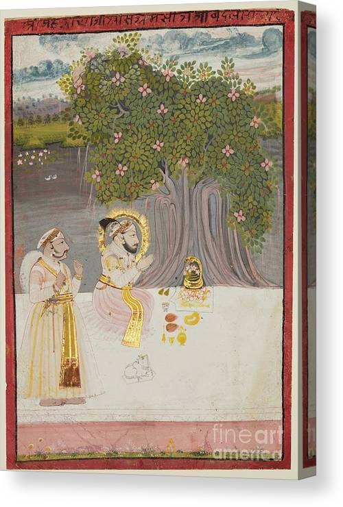 Rajasthan Canvas Print featuring the drawing Rana Sangram Singh Worshipping A Linga by Heritage Images