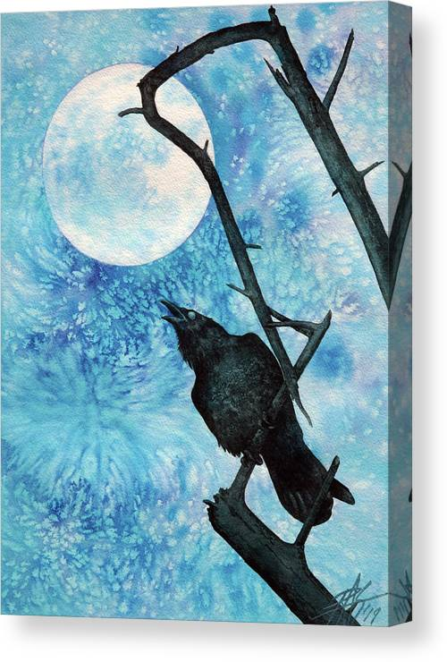 Raven Canvas Print featuring the painting Raven with Torrey Pine Branch and Cold Moon by Robin Street-Morris