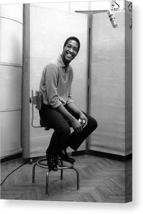 Sam Cooke - Singer Canvas Print featuring the photograph Sam Cooke In The Studio by Michael Ochs Archives