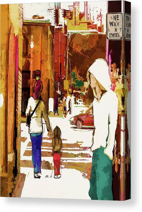 City Life Canvas Print featuring the digital art Street Life Innocence by Regina Wyatt