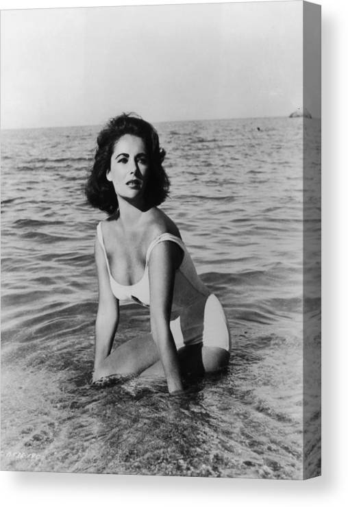 Director Canvas Print featuring the photograph Taylor In Surf by Hulton Archive