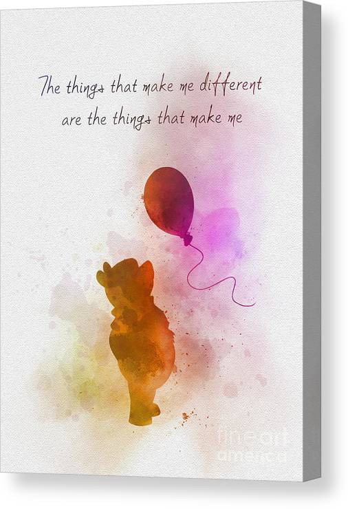 Winnie The Pooh Canvas Print featuring the mixed media The things that make me different by My Inspiration