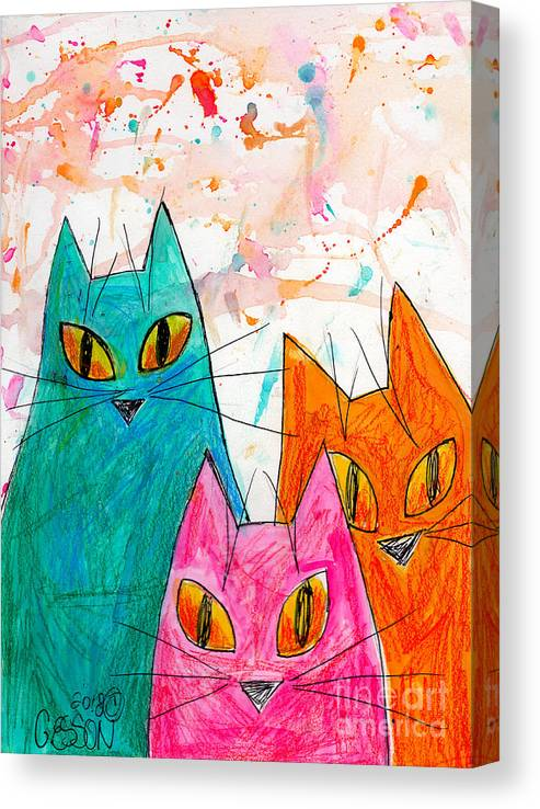 Cat Canvas Print featuring the painting Three Cats by Genevieve Esson