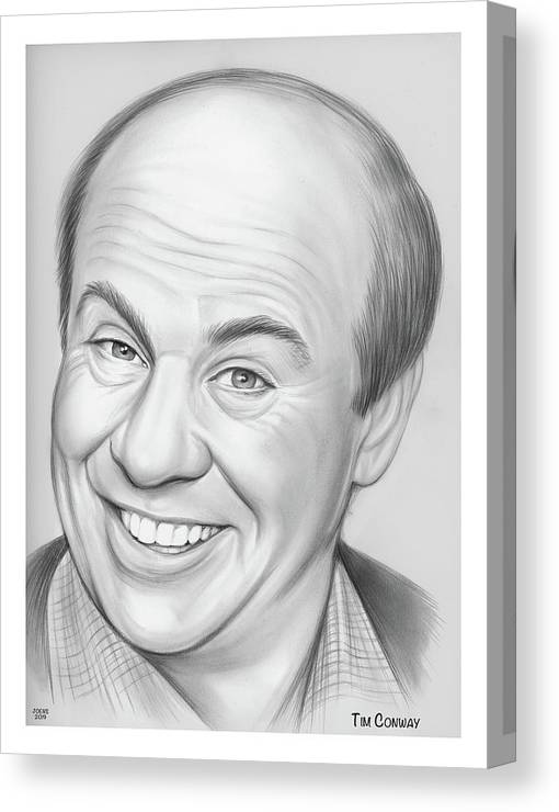 Tim Conway Canvas Print featuring the drawing Tim Conway by Greg Joens