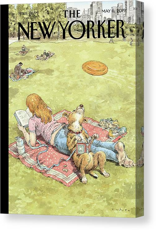 To Fetch Or Not To Fetch Canvas Print featuring the painting To Fetch or Not to Fetch by John Cuneo