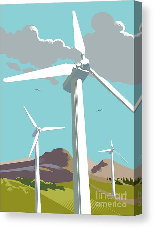 Environmental Conservation Canvas Print featuring the digital art Wind Turbine Farm In Countryside by Smartboy10