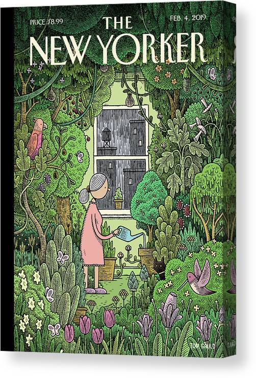 Winter Garden Canvas Print featuring the painting Winter Garden by Tom Gauld