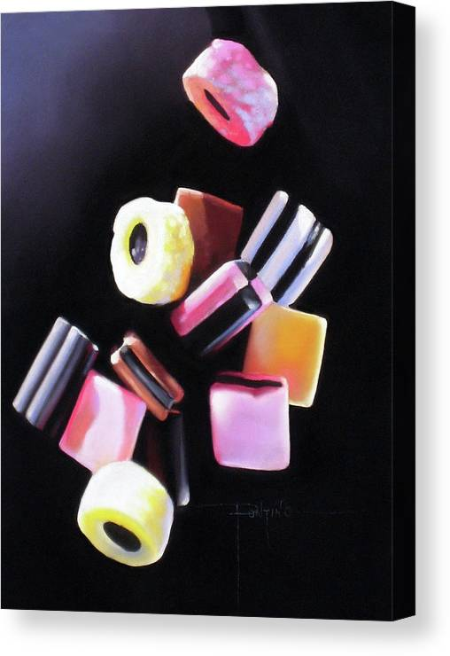 Licorice Allsorts Canvas Print featuring the pastel Y'all Fall Down by Dianna Ponting