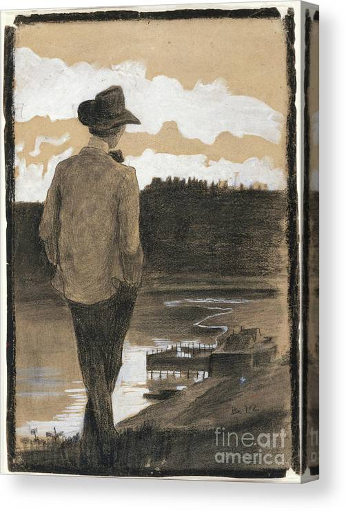 Young Men Canvas Print featuring the drawing Young Man On A Riverbank by Heritage Images