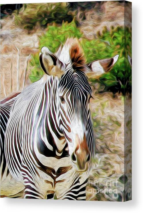 Animal Canvas Print featuring the digital art Zebra Rendition I by Kenneth Montgomery