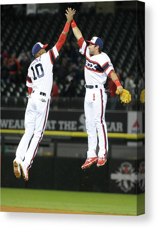 People Canvas Print featuring the photograph Alexei Ramirez and Adam Eaton by David Banks