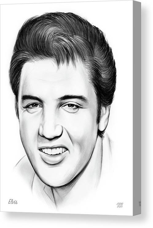 Elvis Canvas Print featuring the drawing Elvis by Greg Joens