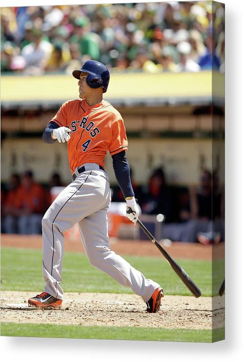American League Baseball Canvas Print featuring the photograph George Springer by Ezra Shaw