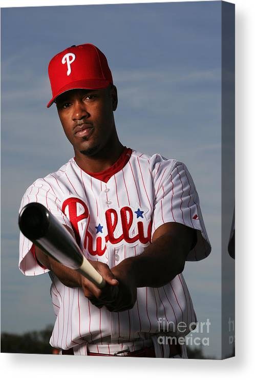 Media Day Canvas Print featuring the photograph Jimmy Rollins by Al Bello