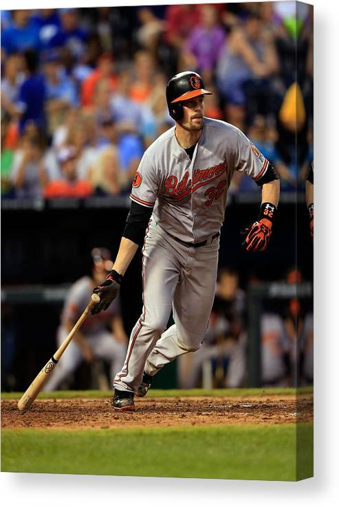American League Baseball Canvas Print featuring the photograph Matt Wieters by Jamie Squire