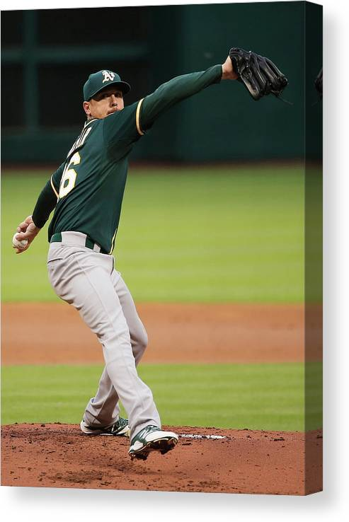 American League Baseball Canvas Print featuring the photograph Scott Kazmir by Scott Halleran