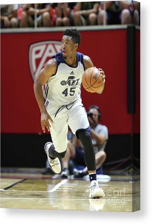 Nba Pro Basketball Canvas Print featuring the photograph Donovan Mitchell by Melissa Majchrzak