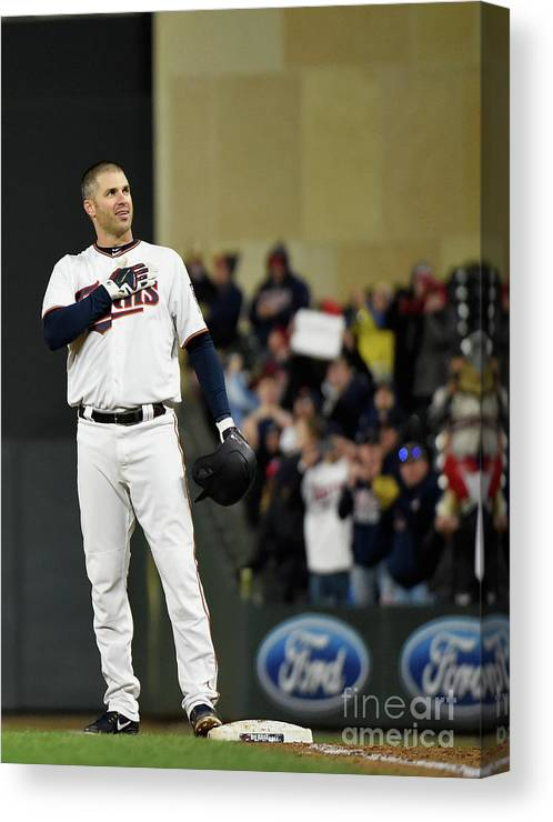 Joe Mauer Canvas Print featuring the photograph Joe Mauer by Hannah Foslien