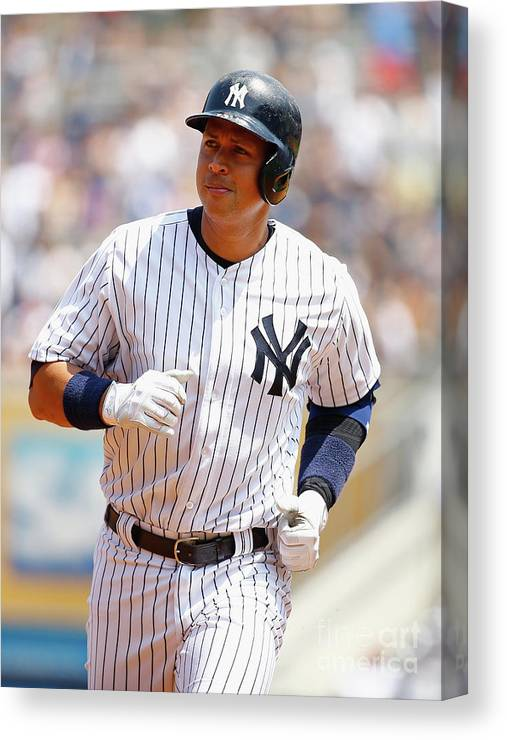 Three Quarter Length Canvas Print featuring the photograph Alex Rodriguez, Eric Hosmer, and Chris Young by Al Bello