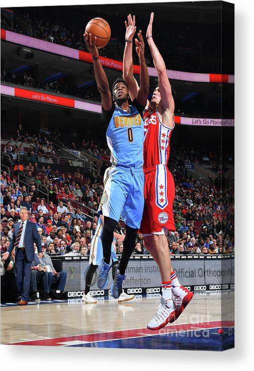 Nba Pro Basketball Canvas Print featuring the photograph Emmanuel Mudiay by Jesse D. Garrabrant