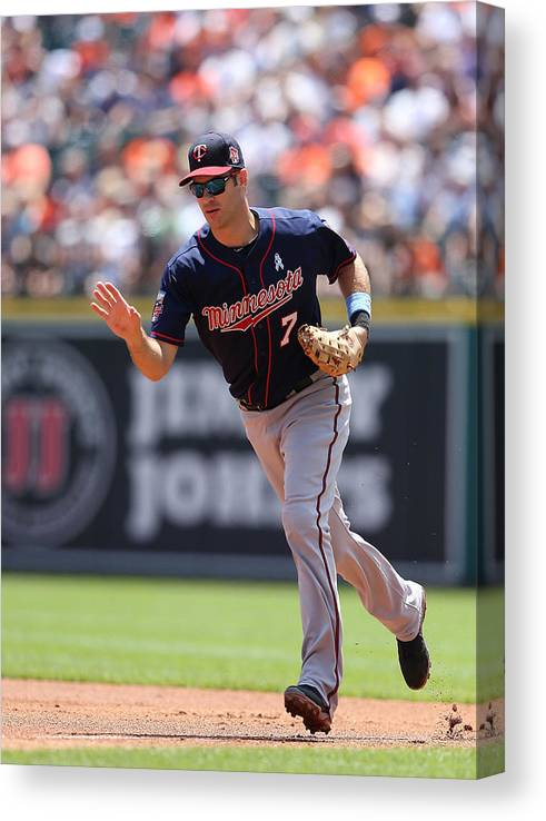Joe Mauer Canvas Print featuring the photograph Joe Mauer by Leon Halip
