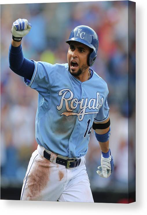 Ninth Inning Canvas Print featuring the photograph Omar Infante by Ed Zurga