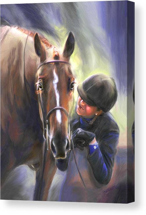 Horse Canvas Print featuring the painting A Secret Shared Hunter Horse With Girl by Connie Moses