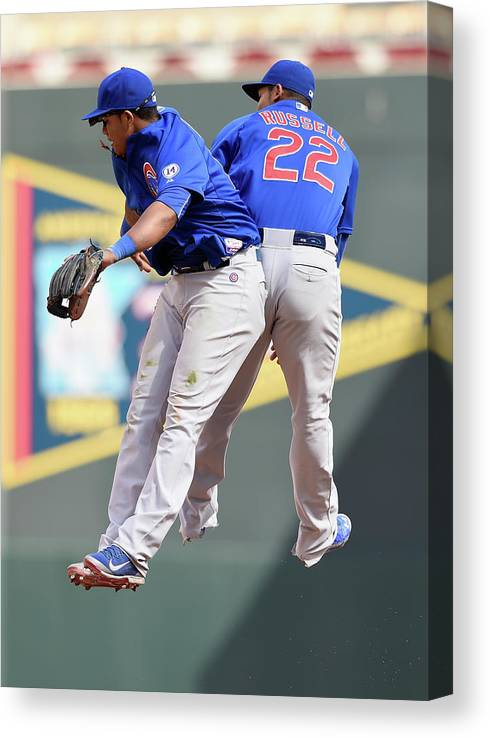 People Canvas Print featuring the photograph Addison Russell and Starlin Castro by Hannah Foslien