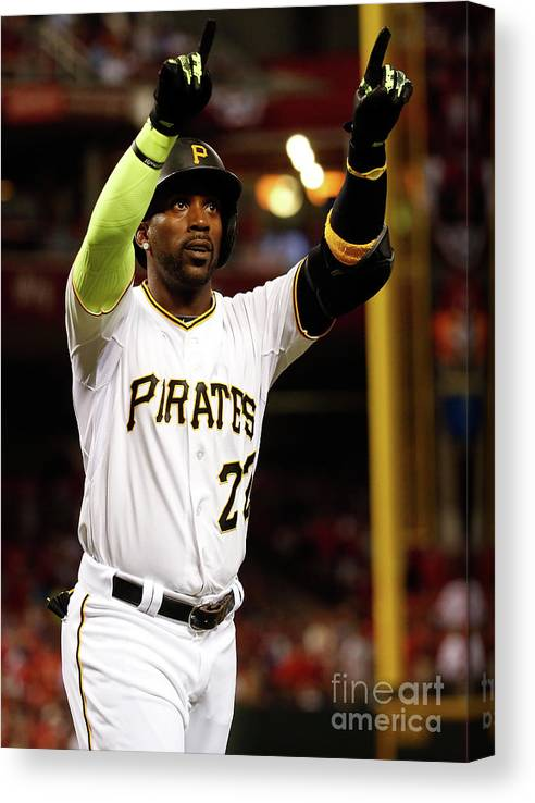 Great American Ball Park Canvas Print featuring the photograph Andrew Mccutchen by Rob Carr