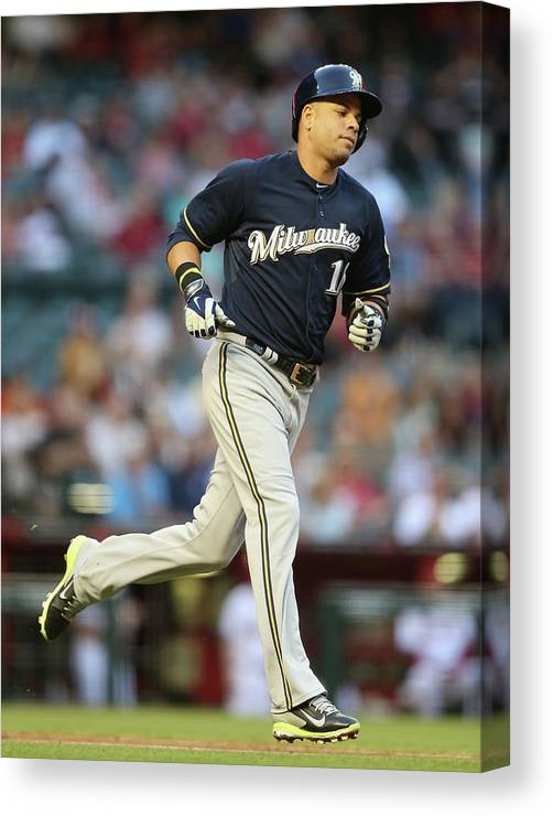 Second Inning Canvas Print featuring the photograph Aramis Ramirez by Christian Petersen
