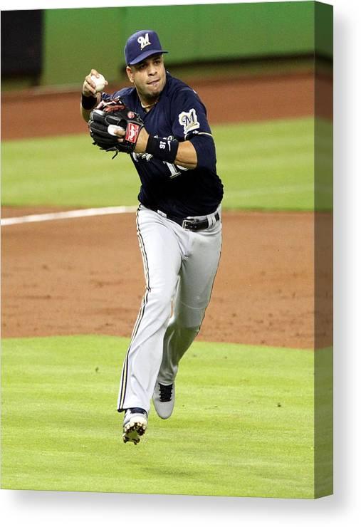 American League Baseball Canvas Print featuring the photograph Aramis Ramirez by Marc Serota