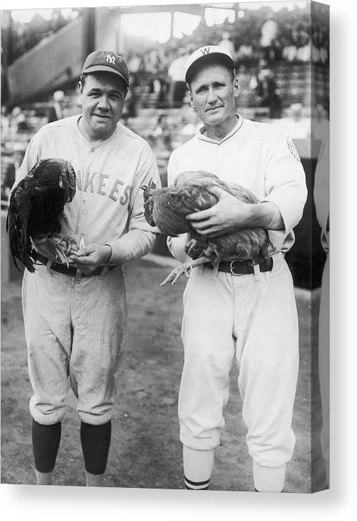 Baseball Cap Canvas Print featuring the photograph Babe Ruth and Walter Johnson by Fpg
