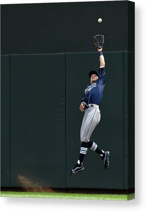 Second Inning Canvas Print featuring the photograph Brandon Guyer and Eddie Rosario by Hannah Foslien