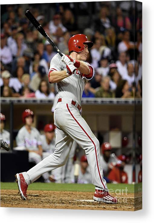 People Canvas Print featuring the photograph Chase Utley by Denis Poroy