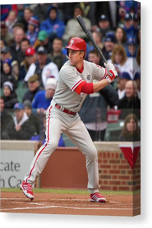 National League Baseball Canvas Print featuring the photograph Chase Utley by Ron Vesely