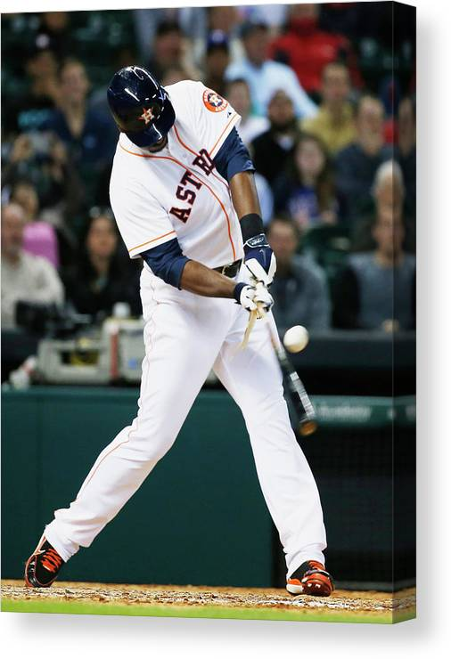 American League Baseball Canvas Print featuring the photograph Chris Carter by Scott Halleran