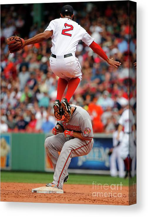 People Canvas Print featuring the photograph Chris Davis and Xander Bogaerts by Winslow Townson