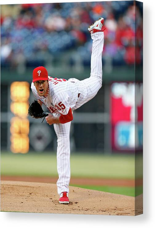 People Canvas Print featuring the photograph Cole Hamels by Rich Schultz