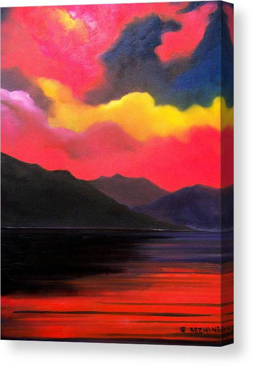 Surreal Canvas Print featuring the painting Crimson clouds by Sergey Bezhinets