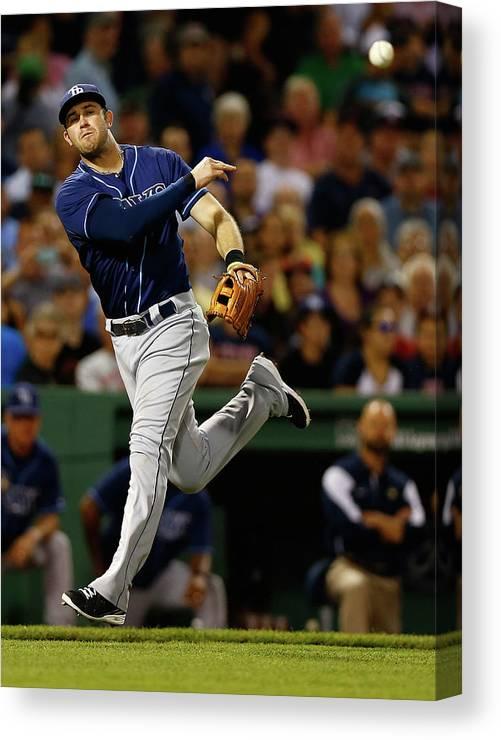 American League Baseball Canvas Print featuring the photograph Evan Longoria by Jared Wickerham