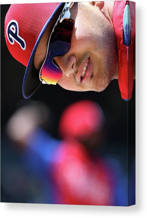 National League Baseball Canvas Print featuring the photograph Freddy Galvis by Christian Petersen