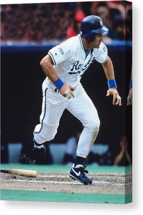 American League Baseball Canvas Print featuring the photograph George Brett by Ronald C. Modra/sports Imagery