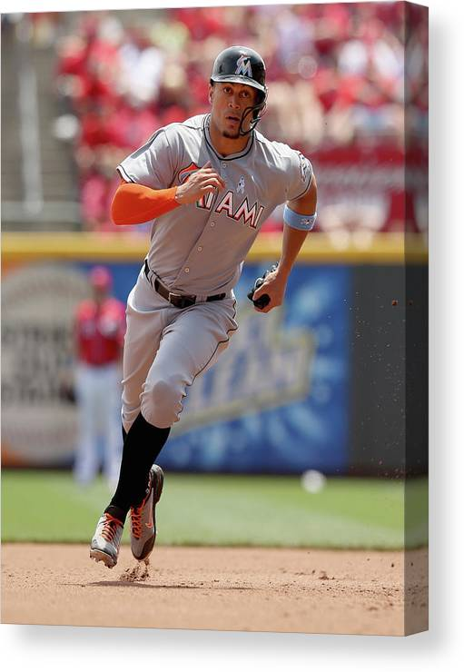 Great American Ball Park Canvas Print featuring the photograph Giancarlo Stanton by Andy Lyons