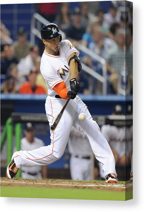 National League Baseball Canvas Print featuring the photograph Giancarlo Stanton by Rhona Wise