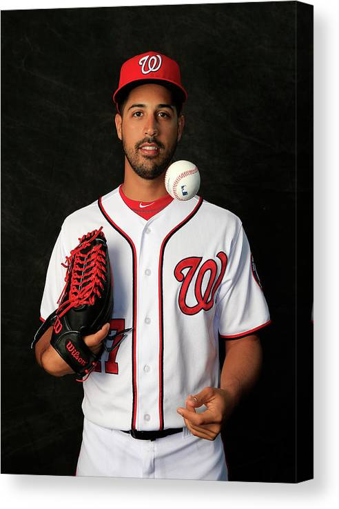 Media Day Canvas Print featuring the photograph Gio Gonzalez by Rob Carr