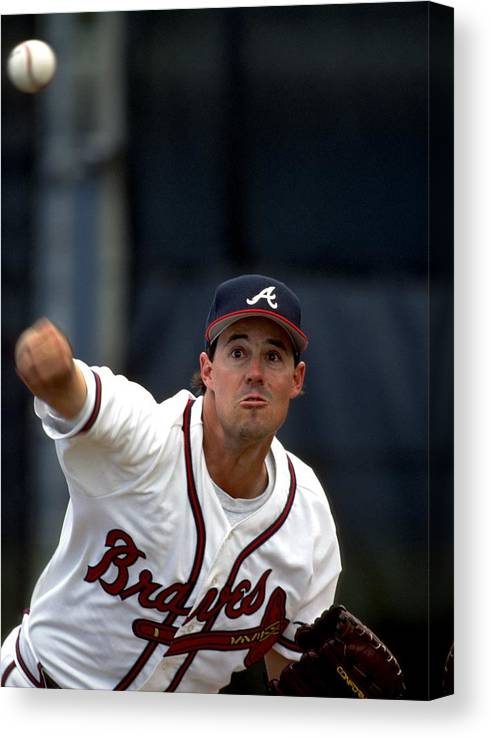 Baseball Pitcher Canvas Print featuring the photograph Greg Maddux by Ronald C. Modra/sports Imagery